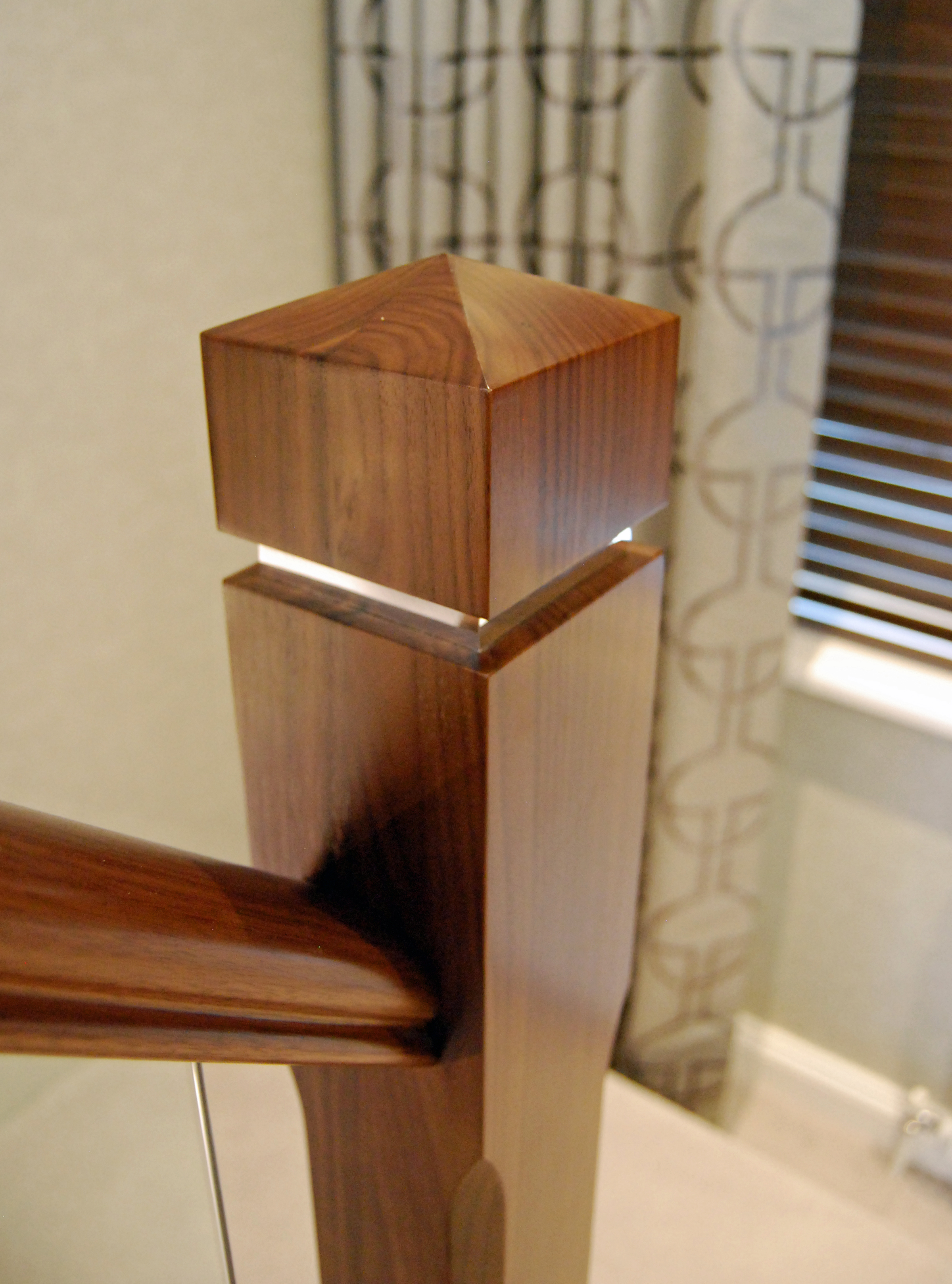 Newel Post Walnut with Mirror inlay in hall