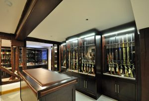 Gun Cabinets and counter with leather top