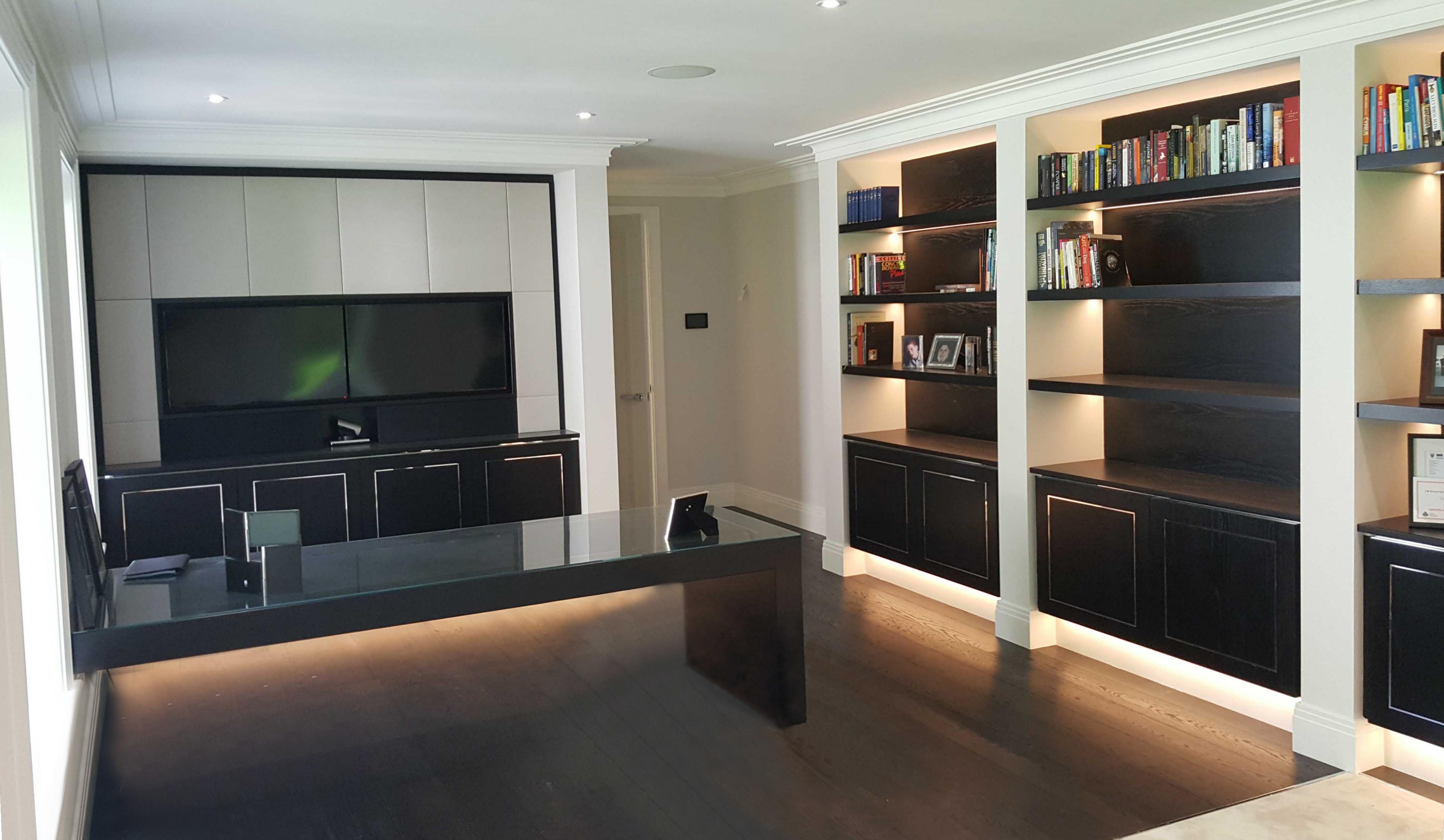 Wall to Wall Bookcase Shelving, Desk and Fitted Media Unit