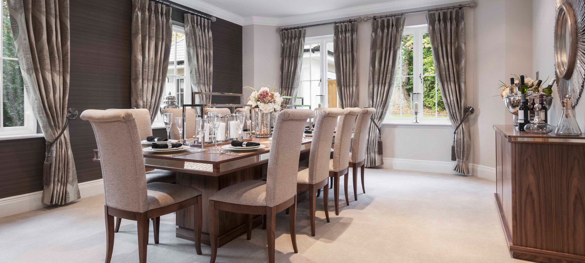 Bespoke Dining Table with Mirror detail and twin pedestal bases