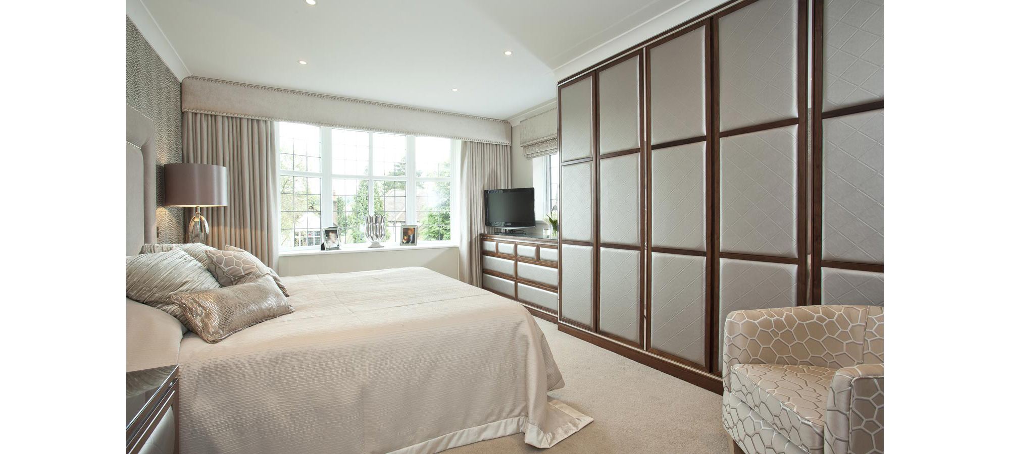 Fitted Wardrobe Set with Upholstered Doors and Drawers