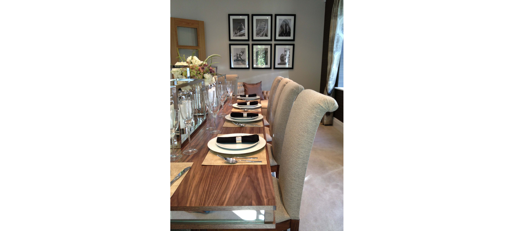 Walnut Dining Table with Mirror Surround