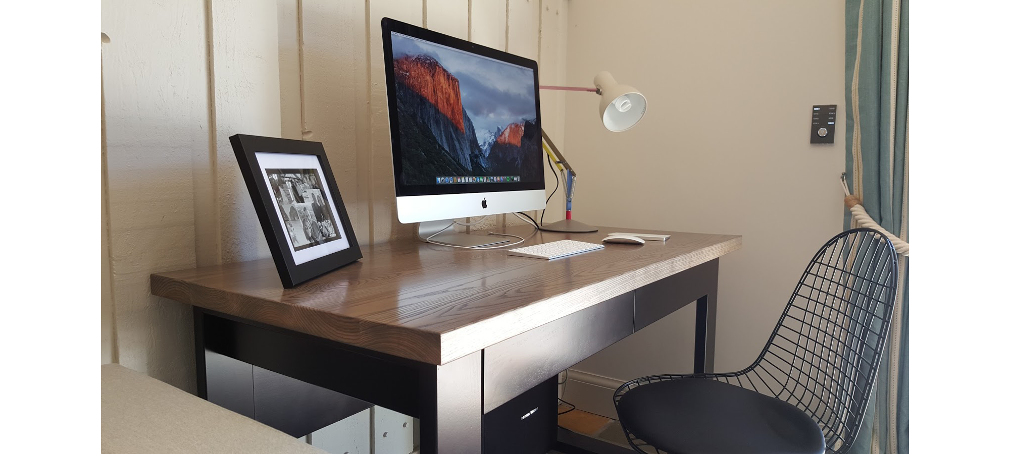 Contemporary Desk with Solid Wood Top.